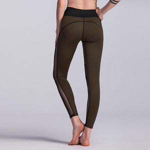 Olive Green, Mesh Paneled Yoga Leggings - Pain Then Glory