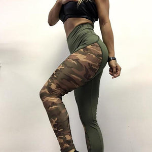 High Waist Patchwork Camo Leggings