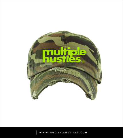"Camo/Lime Green Distressed ""Dad"" Hat"