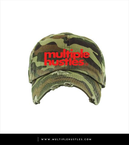 "Camo/Red Distressed ""Dad"" Hat"
