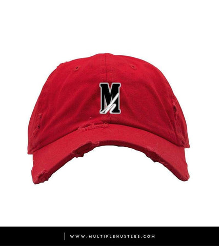 "Red Distressed ""Logo"" Dad Hat"