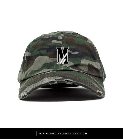 "Camo Distressed ""Logo"" Dad Hat"