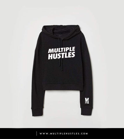 Ladies MH Crop Top Black/White Slant Hoodie
