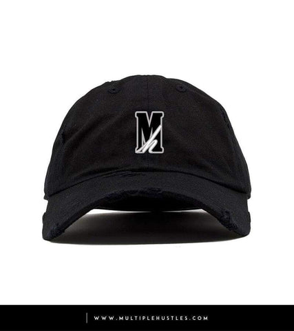 "Black Distressed ""Logo"" Dad Hat"