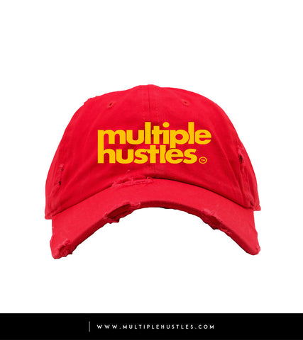 "Red/Yellow Distressed ""Dad"" Hat"