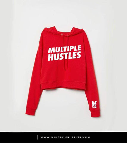 Ladies MH Crop Top Red/White Slant Hoodie