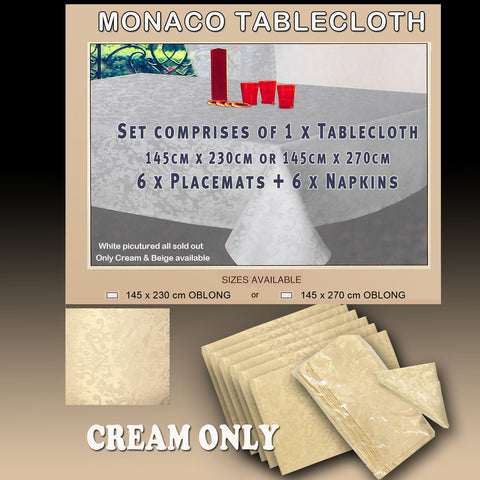 Monaco Tablecloth complete Table Setting Promo Special in Cream 145cm x 230cm or145cm x 270cm