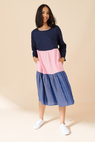 ALESSANDRA | ROSIE LINEN DRESS IN NAVY