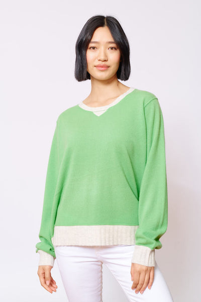 ALESSANDRA | BOYFRIEND CASHMERE SWEATER IN LIME