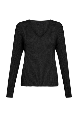 LUXE DELUXE | The Skinny V Neck Sweater Black