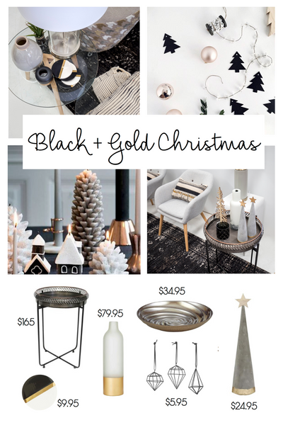 Black and gold monochrome Christmas styling inspiration | Tailored Space Interiors