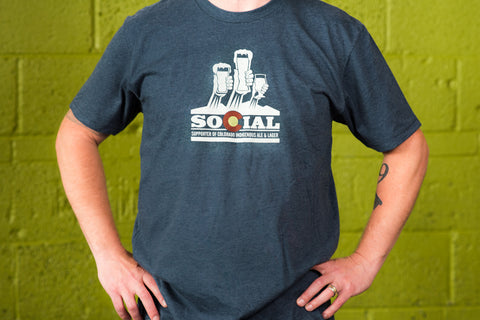 Clearance! - Mens SOCIAL (Supporter Of Colorado Indigenous Ales and Lagers) T-shirt