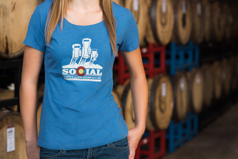 Clearance! - Ladies SOCIAL (Supporter Of Colorado Indigenous Ales and Lagers) T-shirt