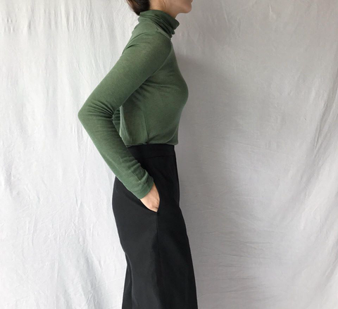 Wool Mix Turtleneck in Tone down Green (Available in 15 other colors) (42,000원)