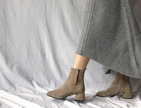 Suede Booties in Creme Beige (Also Available in Blue, Green, Grey and Black) (78,000원)