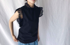 Lace Neck Top in Black (Also Available in White)  (58,000원)