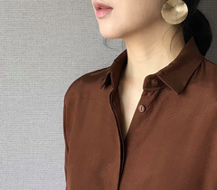 Essential Silky Blouse in Brown (70,000원)