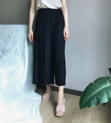 Half Pleated Wrap Pants in Black (Also available in Oatmeal ) (78,000원)