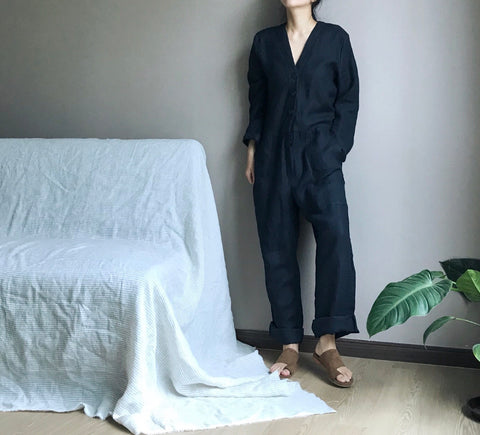 Linen Jumpsuit in Dark Navy (Also available in Creme) (104,000원)