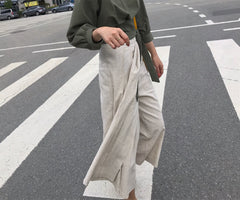 Half Pleated Wrap Pants in Oatmeal (Also available in Black) (78,000원)