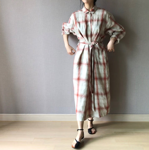 Plaid Linen Dress  (140,000원)