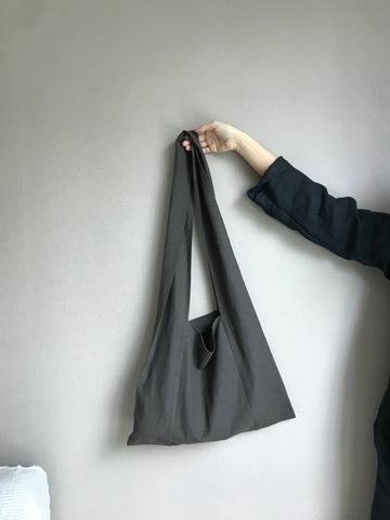 Linen Square Bag in Charcoal (Also available in Ivory) (44,000원)