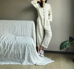 Linen Jumpsuit in Creme (Also available in Navy) (104,000원)