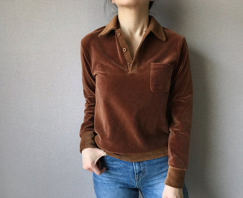 Velvet Collar Top in Brown (62,000원)