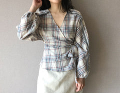 Plaid Wrap Top (Also available in Red) (58,000원)