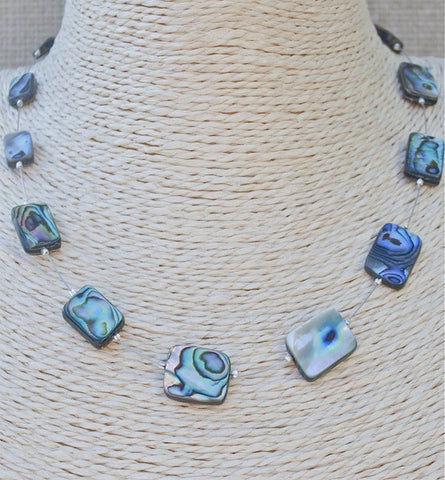 NZ Rectangle Paua Bead Floating Necklace