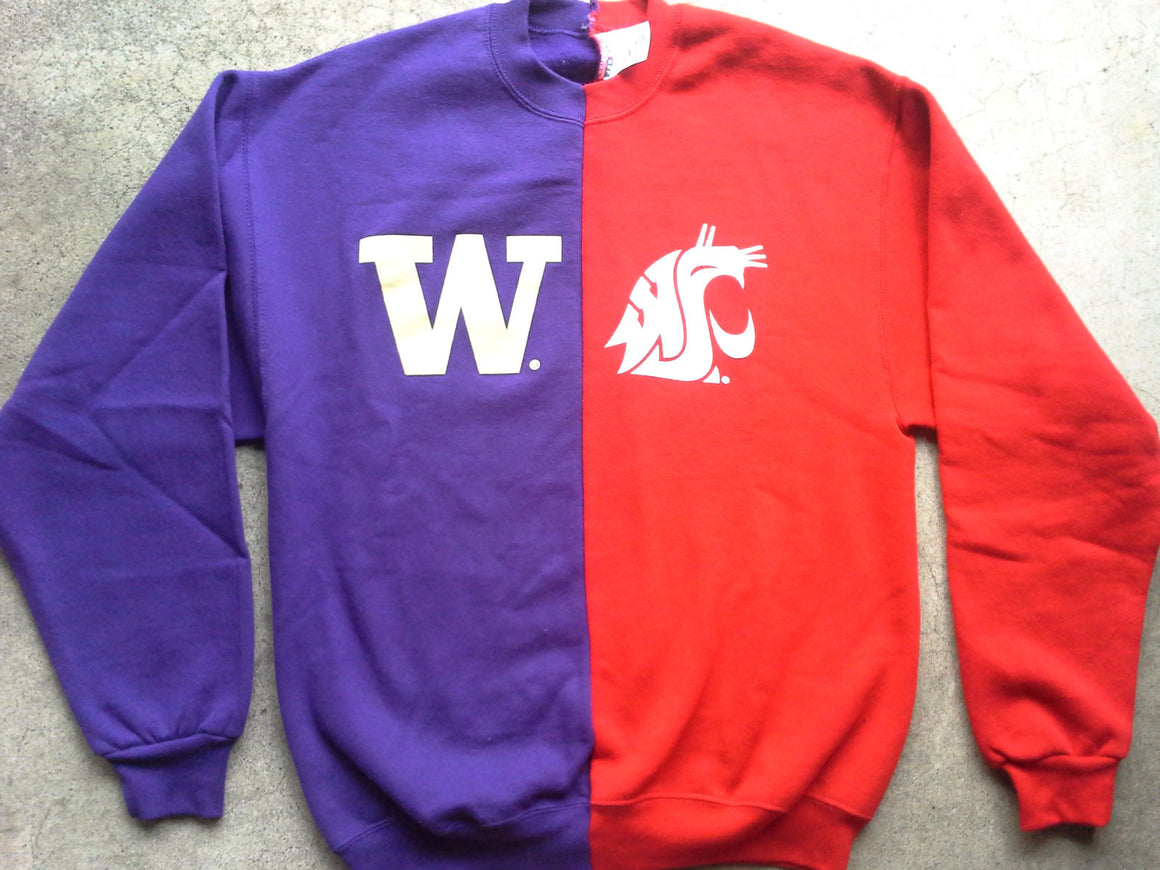 WSU Cougars UW Washington Huskies split crewneck sweatshirt house divided state