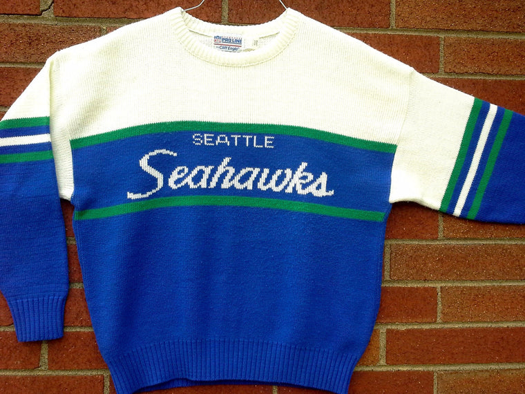 Vintage Seattle Seahawks Cliff Engle sideline sweater 80s 90s - Large