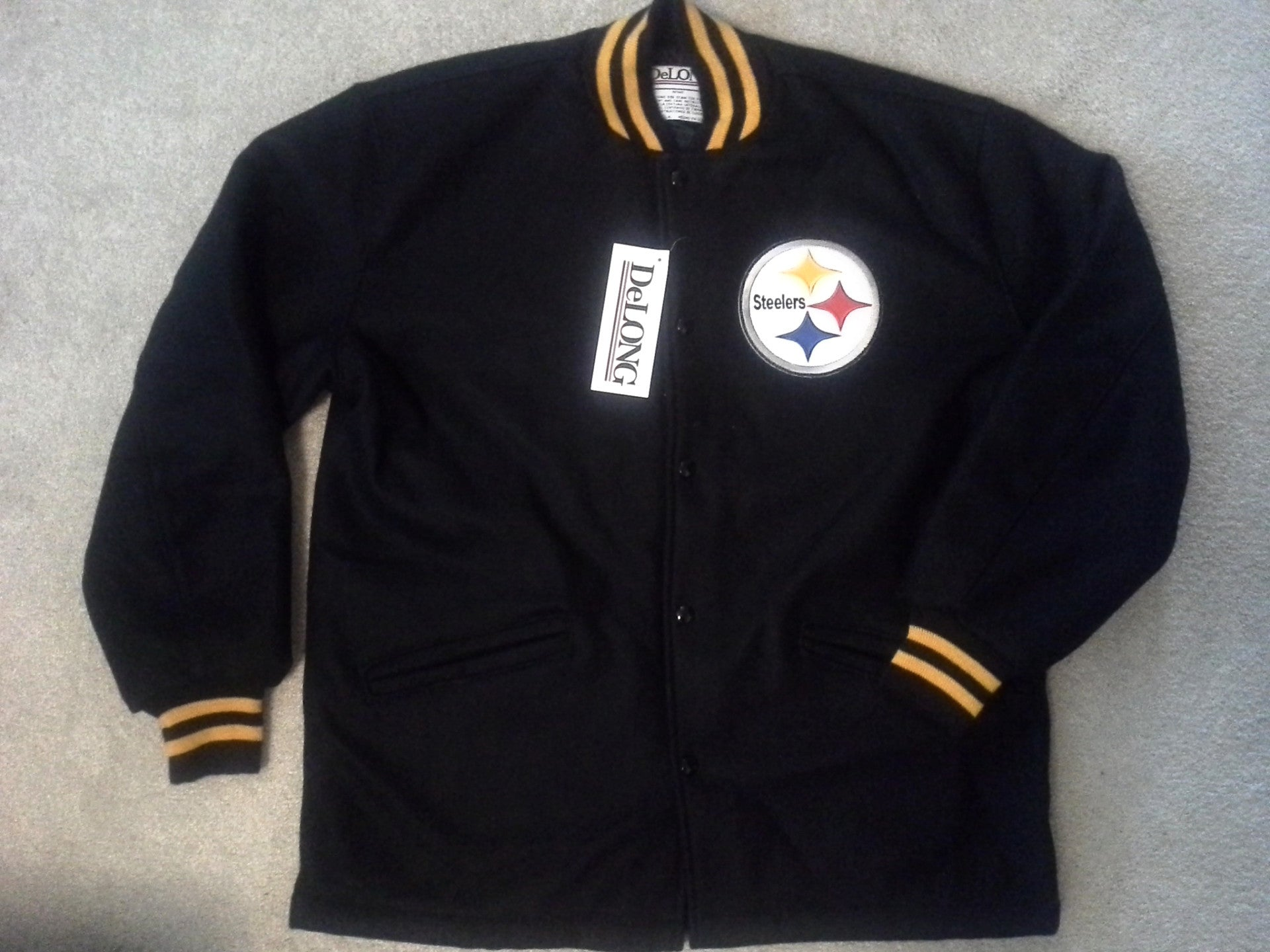 best service 14286 c10b3 NWT Pittsburgh Steelers varsity jacket - L