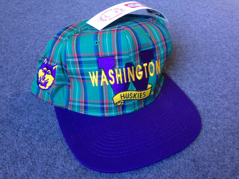 Vintage NWT Washington Huskies PLAID hat