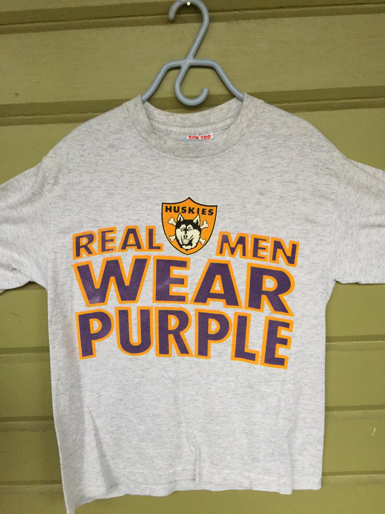 Vintage Real Men Wear Purple Washington Huskies t shirt - Medium