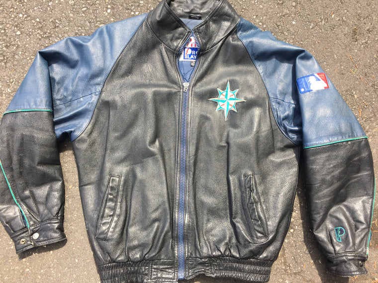 Vintage Seattle Mariners leather jacket - M