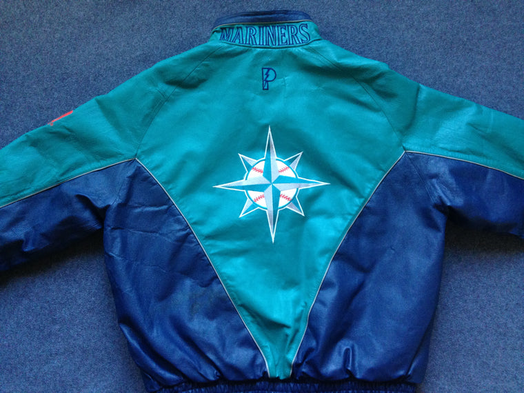 90s Seattle Mariners leather varsity jacket - XL