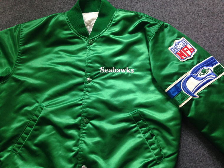 Vintage RARE GREEN Seattle Seahawks Starter satin jacket - M