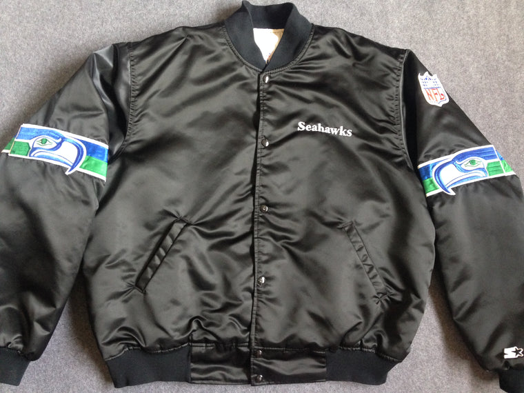 Vintage RAREST BLACK Seattle Seahawks Starter satin jacket - XXL