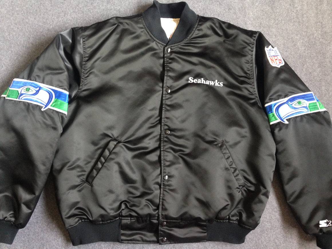 BLACK Seattle Seahawks Starter satin jacket - M