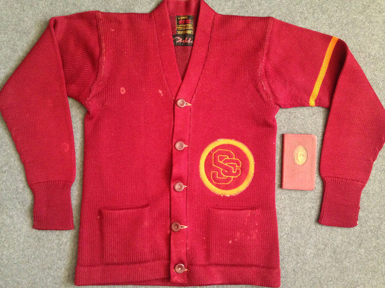 1930s USC Trojans lot:  letterman sweater, pennants, handbook
