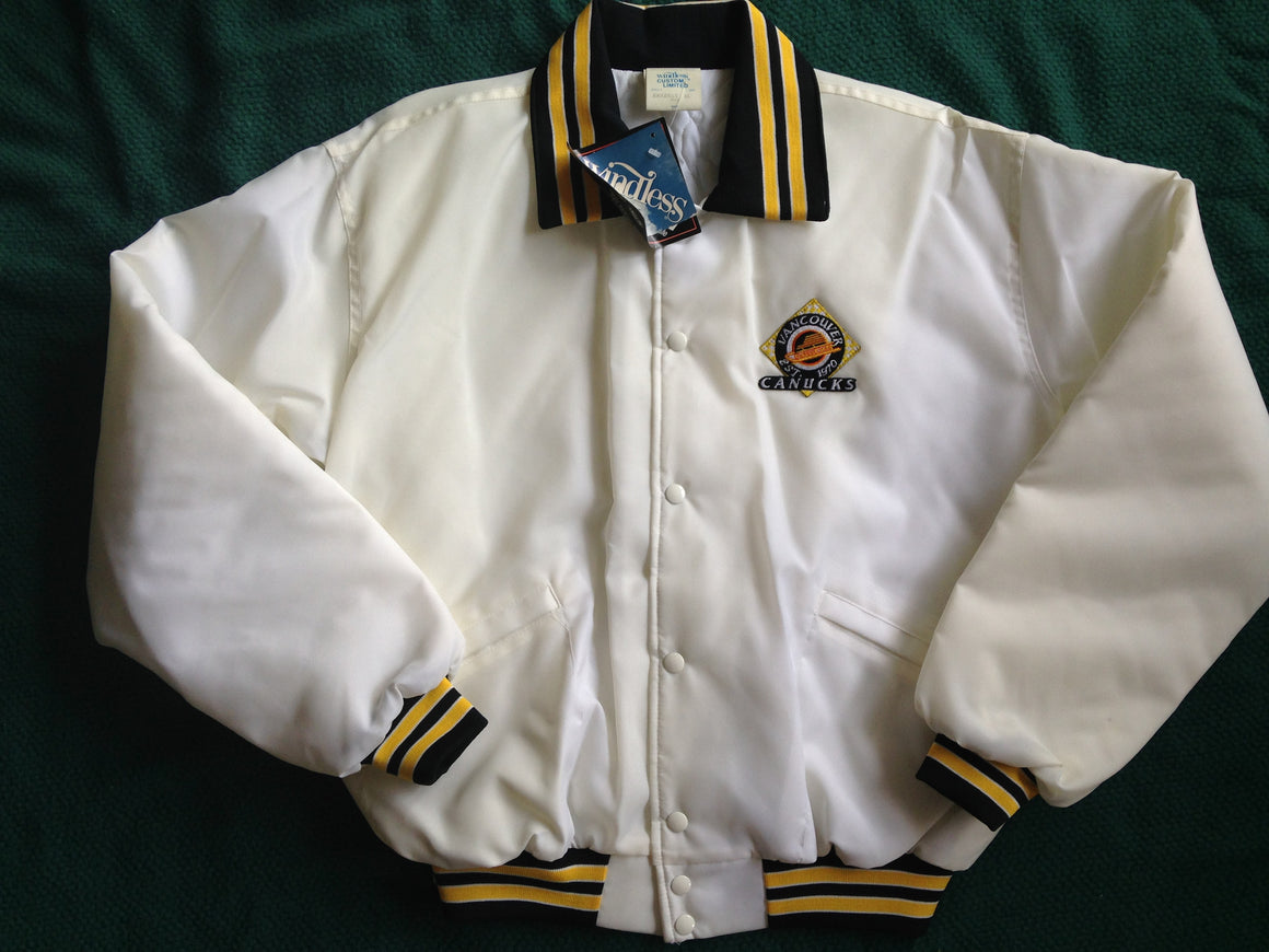 Vtg Vancouver Canucks white satin jacket - XL