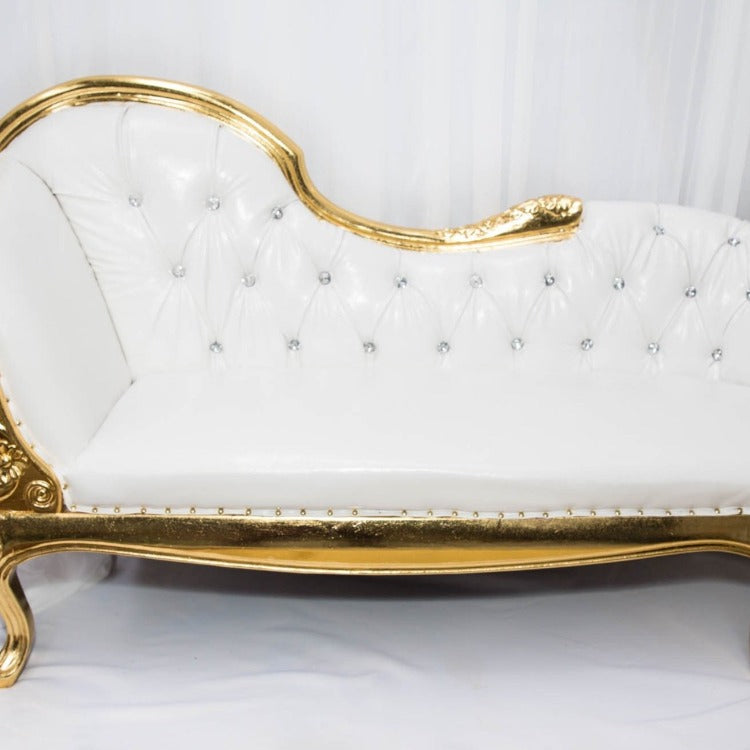 Chaise Lounge White Gold Hire Decorium Events