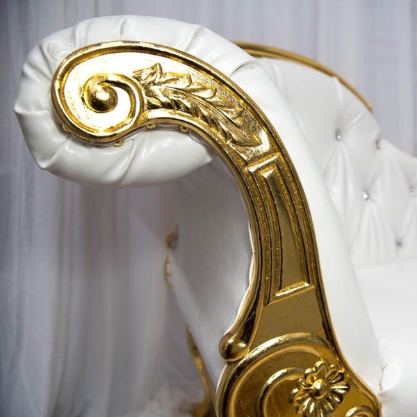 Chaise Lounge - White and Gold