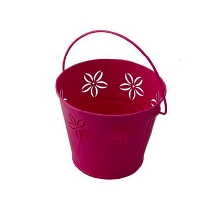 Tin Bucket - Red & White Polka Dot