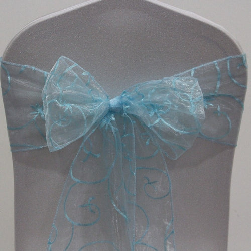 Organza Embroided Sash - Blue