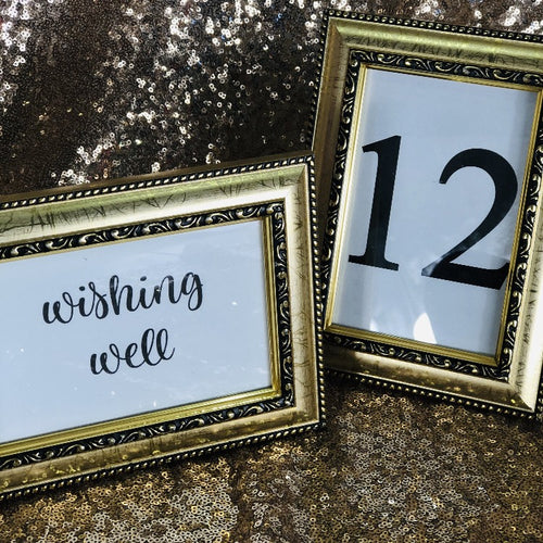 Table Number Frames - Antique Gold & Black