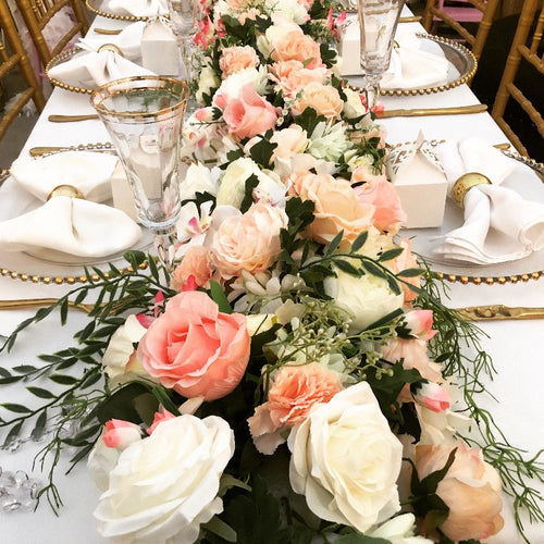 Floral Arrangement  -  Peach Table Runner