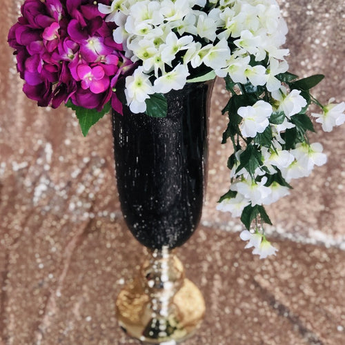 Vase - Tall Black and Gold