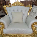 Single Seater Sofa - Gold and White